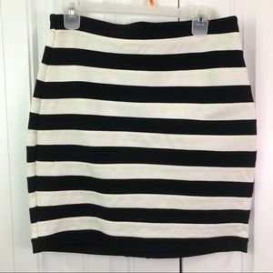 Express Black and White horizontal striped skirt
